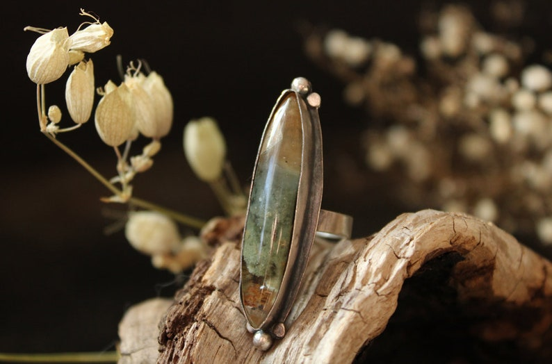 Lodalite garden quartz size 7.50 beautiful ring sterling silver oxidized Nearly Lost Jewelry