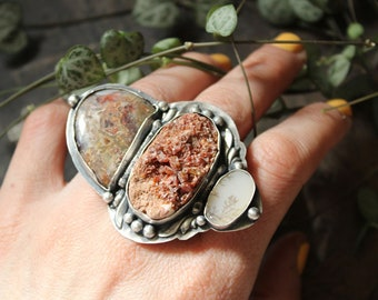 dendrite opal druzy agate huge statement ring  size 9 resizeable sterling silver oxidized Nearly Lost Jewelry