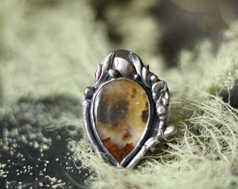 plume agate teardrop twig ring size 8.25 sterling silver oxidized Nearly Lost Jewelry