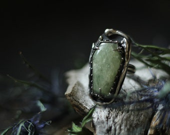 Aquamarine 7.50 leaf twig coffin ring green stone sterling silver oxidized Nearly Lost Jewelry