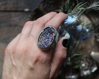 rough azurite ring size custom resizing 8.75 sterling silver oxidized Nearly Lost Jewelry