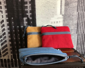 Made to order zips pouch, 3 zip wallet pouch, 3 pockets credit card wallet,  3 pockets wallet, 3 zips coin purse, pocket size canvas wallet,