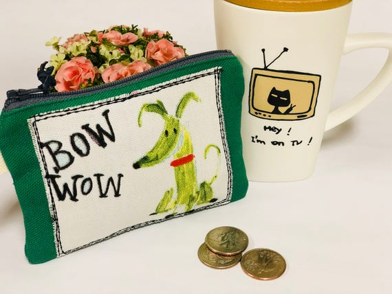 Lovely joyful fabric coin purse with cutie doggy applique etsy