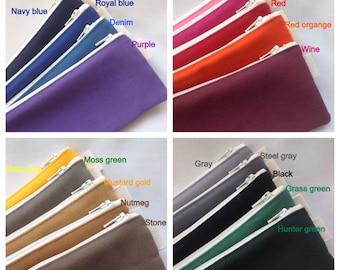 Colored canvas pencil case, color canvas pouch, sturdy make up purse, zipper pencil case, zippered canvas pouch, plain canvas case