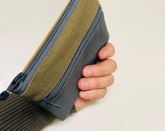 Tri-color 3 zip wallet pouch, 3 pockets credit card wallet,  3 pockets wallet, 3 zips coin purse, pocket size canvas wallet,