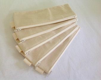 SALE,  Plain canvas pencil case, fabric bag, sturdy coin purse, pencil case, gift bag, zipper canvas pouch, plain canvas case, party gift