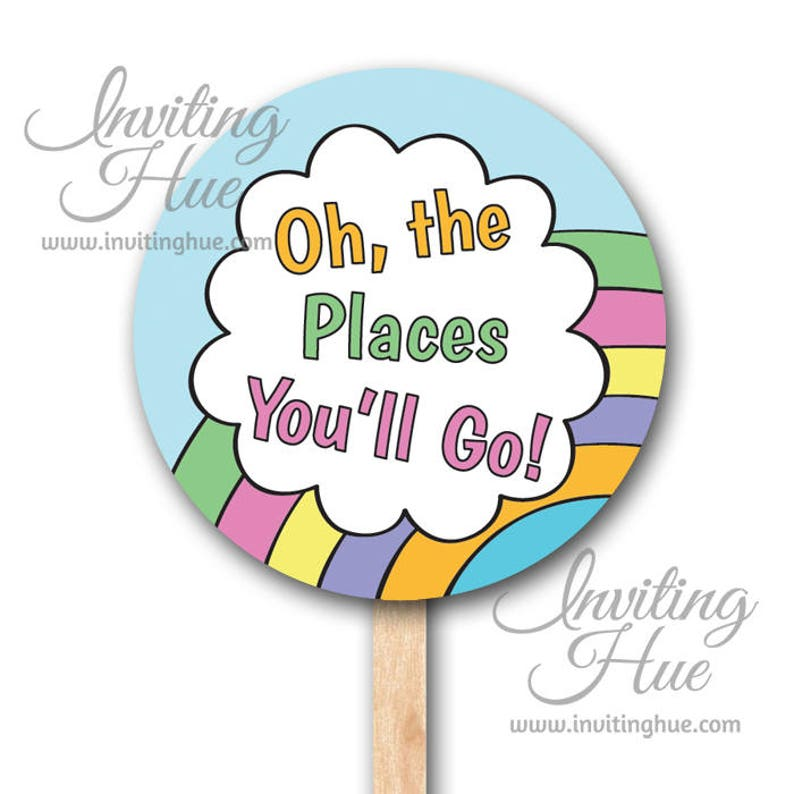 graphic about Oh the Places You'll Go Printable titled Oh the Areas Youll Transfer Cupcake Toppers,Stickers,or Tags-Commencement,Birthday,Bash,Youngster Shower-Instantaneous Obtain-Printable-Do it yourself Get together Components