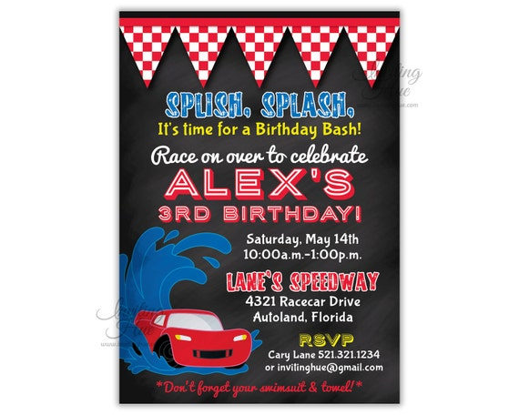 Red Car Party Invitation Birthday Pool Splash