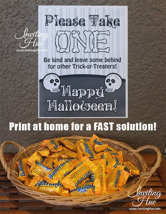 printable sign for halloween candy bowl for trick or treaters instant download digital file 85x11 please take one happy halloween
