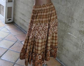 95d95888e4c 1990s Bobbie Brooks Boho Plaid Skirt Brown Boho Long Skirt Bohemian Style  Women s Clothing 1990s Fashion 90s Skirt