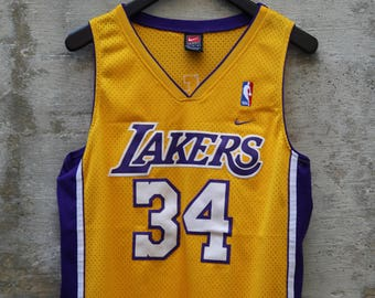 b912dc3bd Lakers 1990s Vintage Nike Shaquille O Neal Stitched Number 34 Size Medium  Basketball Patched Sports Fan NBA Urban Unisex Vintage
