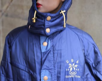 700ca06363 1998 Olympic Team Ski Winter Jacket Navy Blue Made for Athletes MAde in USA  Winter Sports Competition Skiing Figure Skating Snow Windbreaker