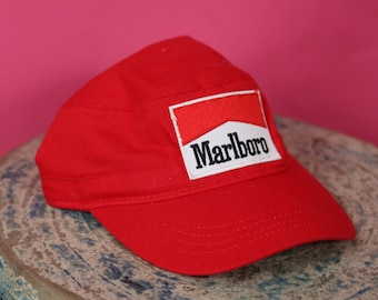 Hand patched Marlboro Hat Hipster Red Hat Hand Sewn Retro Funky Street Wear  Cigarretes and Smoke Unisex Hat Cotton Adjustable RAD Stylish 3c7f9908ec6