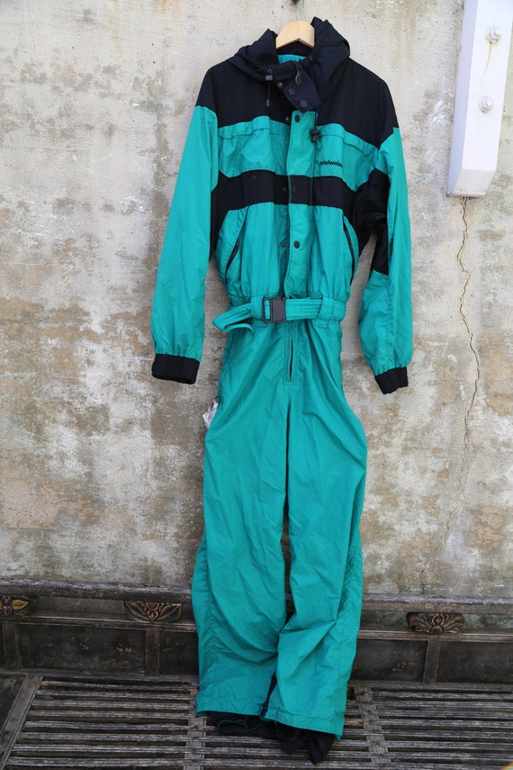 1980s Edelweiss Green Ski Suit Green and Black Ski