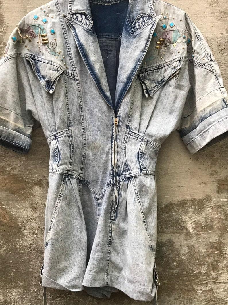 Denim 1980s one piece shorts jumpsuit vintage stressed denim thrashed size 56 80s studded onesie