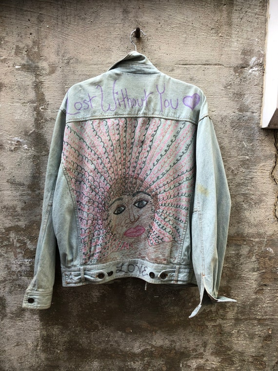1980s Hand Drawn Denim Jacket Lost Without You Fad