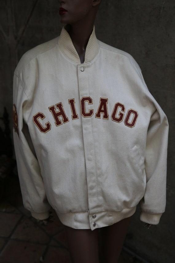 1917 1917 1917 professionnel la veste de Baseball blanc Negro Leagues Made in USA des années 80 Remake de Baseball Fan Chicago patché génial Lettermans veste RAD f4706b