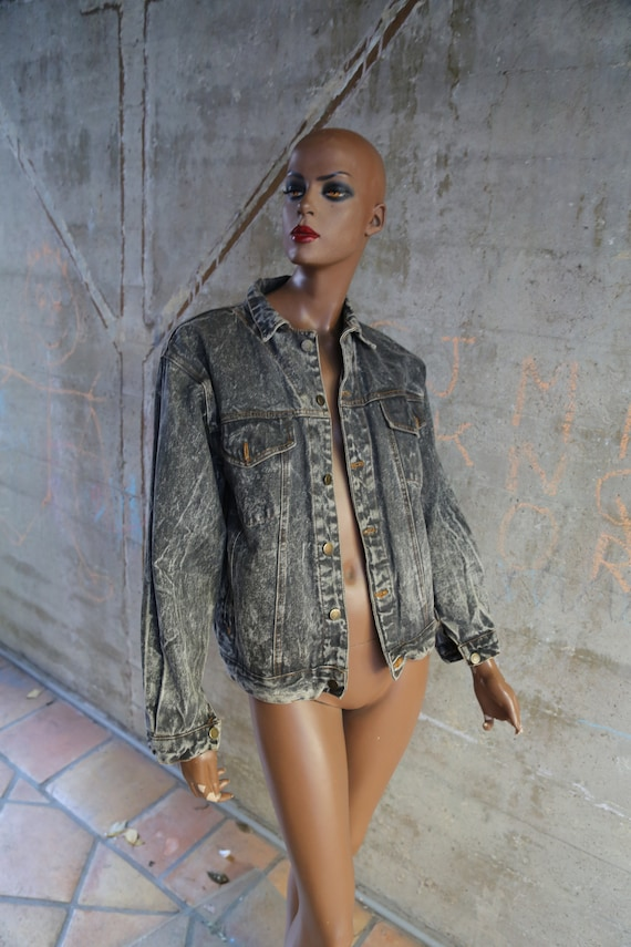 1980s Expressions Faded Distressed Gray Denim Jack