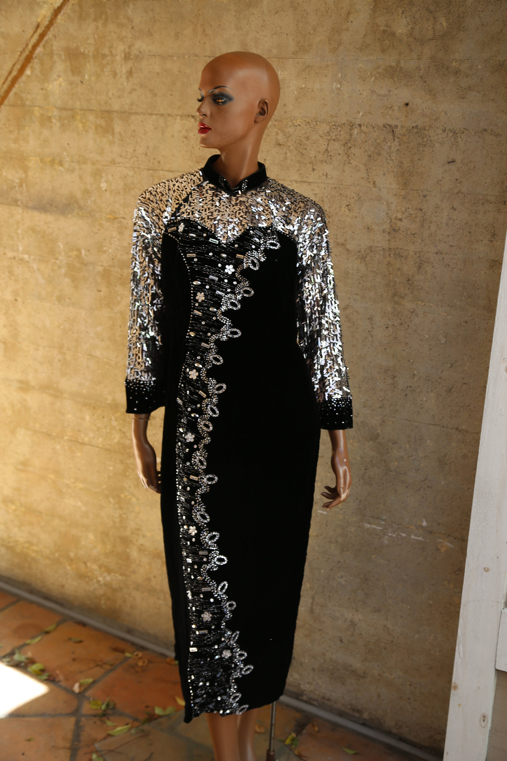 80s Dresses   Casual to Party Dresses Sequin Velvet -Like Vintage Dress Kimono Black Silver Mesh Party Cocktail Evening Gown Stunning Beautiful Unique Ootn Musician $35.00 AT vintagedancer.com