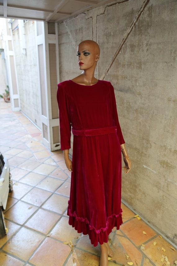 Fuchsia Velvet Long Dress with Ruffles