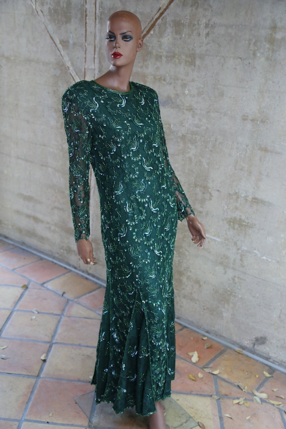 Sequin Beaded Long Vintage Cocktail Party Dress Go
