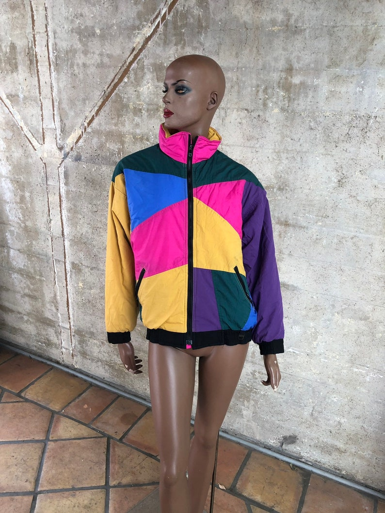 1990s Peter Jay Colorful Ski Jacket Stranger Things Inspired Retro Funky Anow Jacket Winter Warm Insulated Outerwear Skiing
