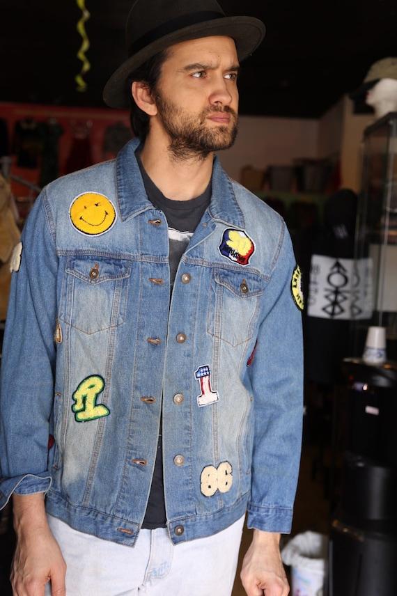 Vintage Patched Denim Jacket Multiple Patches Dist