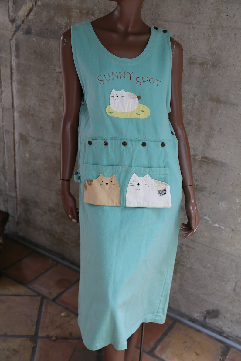 51272073866c1 The Cutest Denim Dress That Ever Lived Sunny Spot Patched Funky Green Jean  Dress With Built in Fanny Pack Anime Style 80s Party Cat Lover