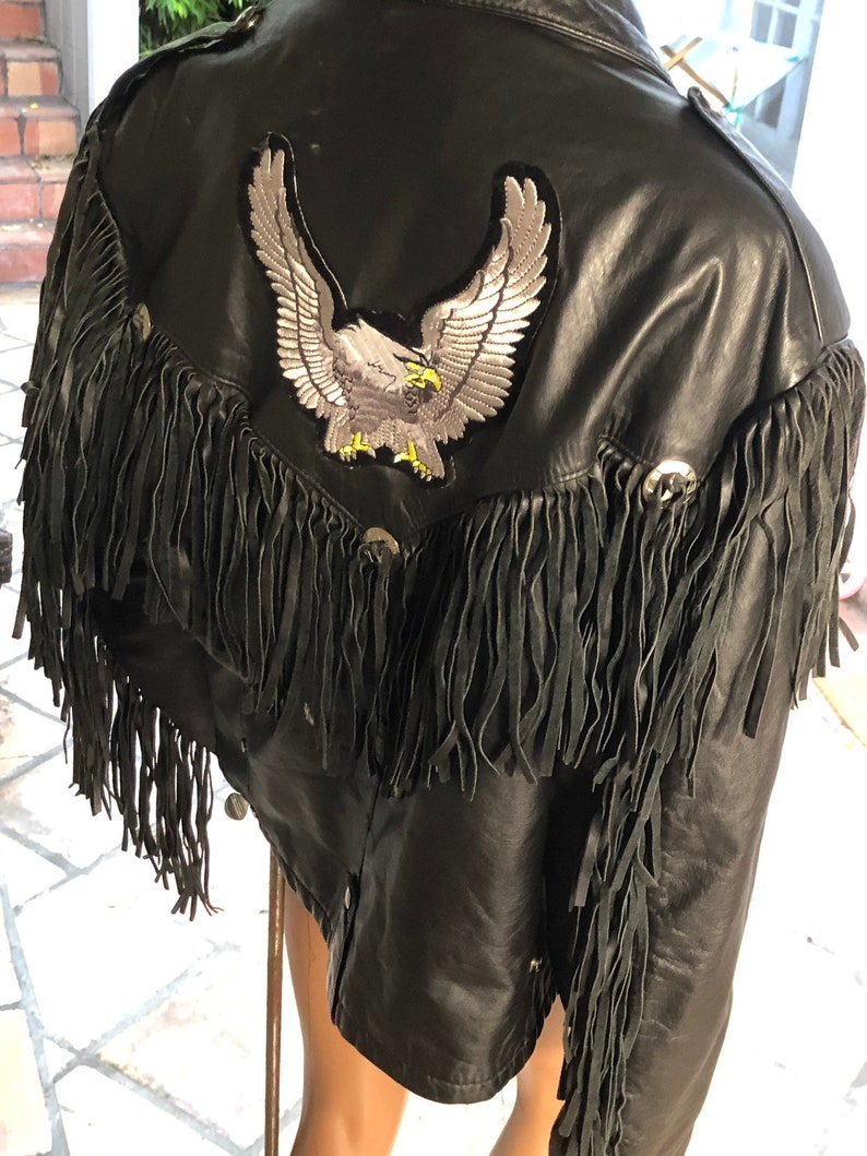 1980s Reed Leather Jacket Made in USA Fringed Leather Sportswear Biker Motorcycle Gang Harley Davidson Patch