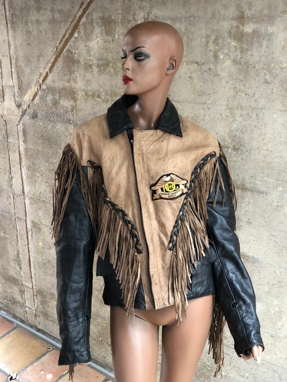 1980s Fringed Leather Harley Davidson Jacket Amazi