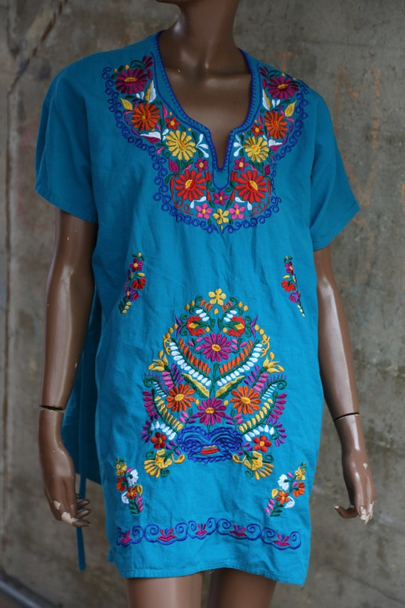 Floral Mexican Top Blue Embroidered Ethnic Top