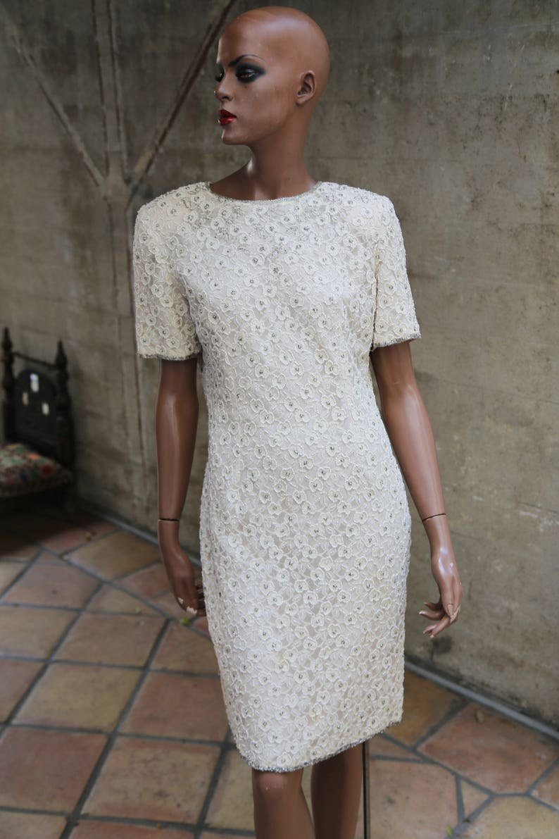 02684d555e466 Cream Beaded Vintage Cocktail Dress Holiday Party Evening Wear | Etsy