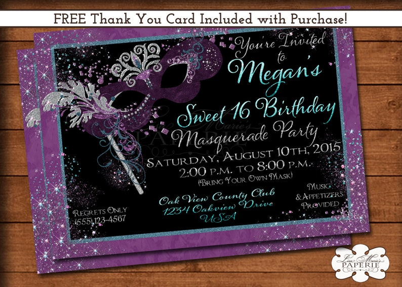 Mardi Gras Invitation Masquerade Party Sweet 16 Birthday Invite