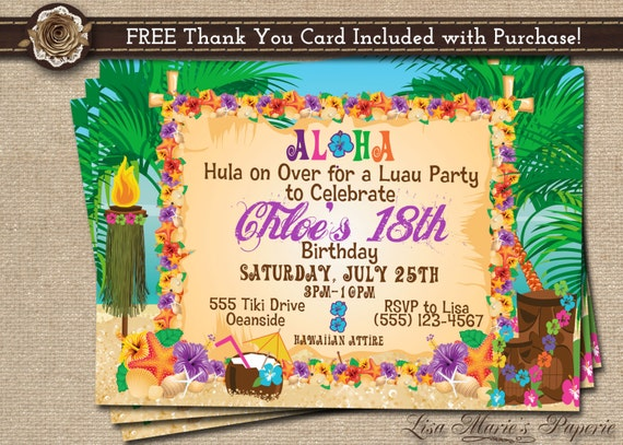 It's just an image of Hawaiian Party Invitations Free Printable within summer birthday party