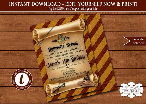 Harry potter invitation diy invitation templett invitation harry potter birthday invitation editable template instant download solutioingenieria Gallery