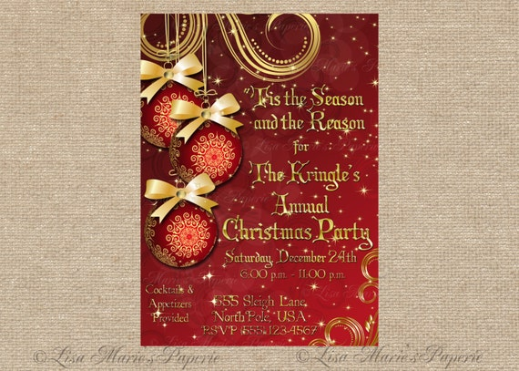 Christmas Party Invitation Handmade Digital Invite Christmas Ornament Invite Christmas Invite Digital File Diy Printable
