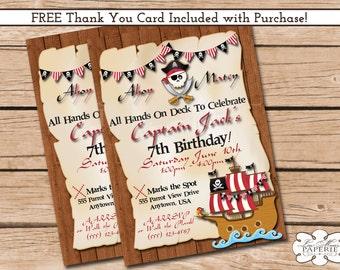 pirate birthday invitation, pirate birthday party invitation, pirate invite, handmade digital invitation - Digital File - DIY PRINTABLE