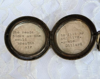 Brass Locket with Annie Dillard Quote