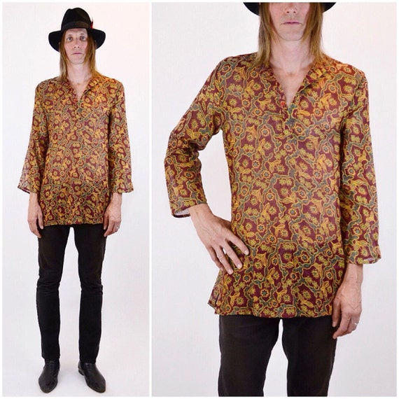 Vtg 70s Gauze Floral Shirt | Sheer Indian cotton t