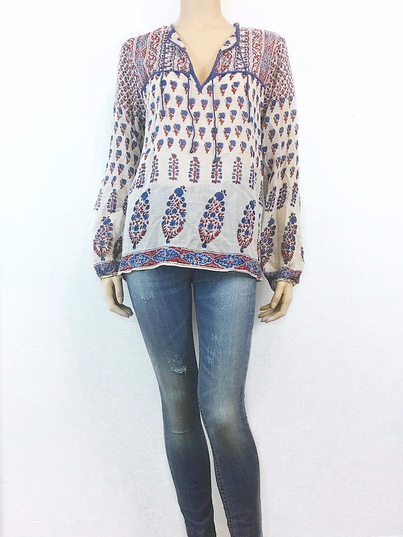 Red White Blue 70s vtg Indian Gauze blouse Soft /& Sheer Boho top Hippie tunic Gypsy shirt 1970s vintage DEADSTOCK India Bohemian Blouse