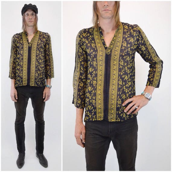 Floral Indian Tunic | 70s vtg Hippie tunic Unisex