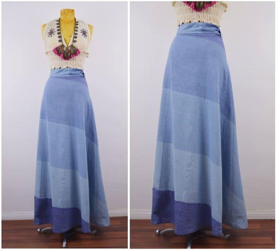 Denim Maxi Wrap Skirt   70s Chambray wrap skirt  