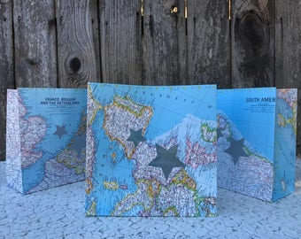 3 Vintage World Map Paper Luminaries