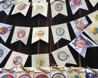 25 children's book party favors and 4 banners