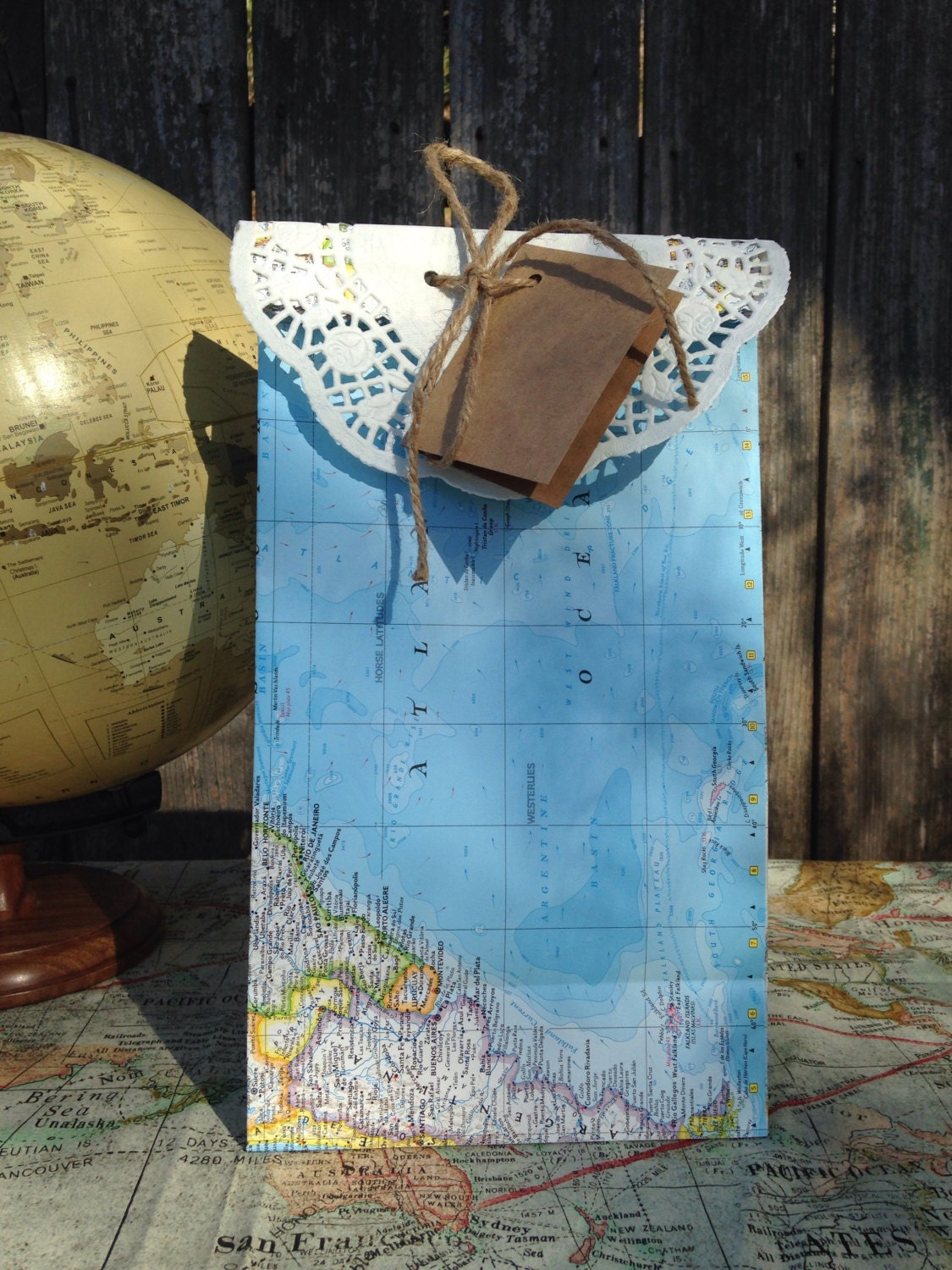 World Map Gift Bags.10 Large World Map Gift Bags Travel Theme Wedding Etsy