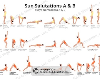 sun salutations a  b poster of yoga poses  etsy