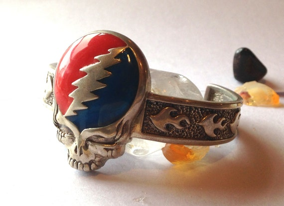 Grateful Dead Steal Your Face Cuff Sterling Silver Hand Cast