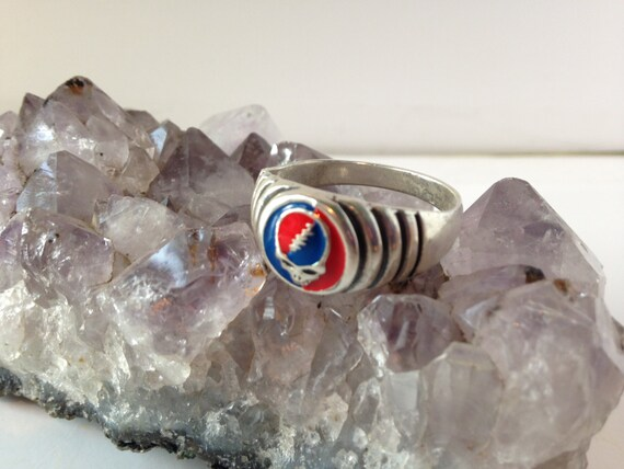 Grateful Dead Steal Your Face Ripple Ring Sterling Silver Hand Painted
