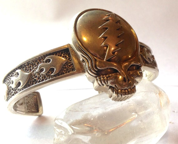 Grateful Dead Steal Your Face Cuff Sterling Silver Hand Cast Sterling Silver Phish Furthur Dead & Company