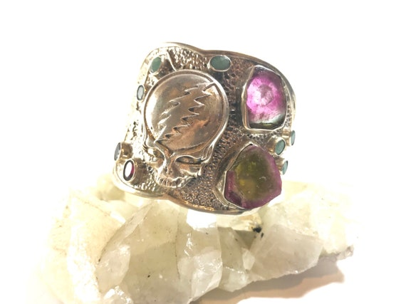 One of a King Sterling Silver Grateful Dead Steal Your Face Tiger Cuff/Bracelet feat Watermelon Tourmaline, Emerald and Garnet